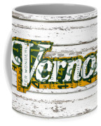 Vernors Beverage Company Recycled Michigan License Plate Art On Old White Barn Wood Coffee Mug