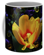 Very Pretty Flowering Yellow Tulip With A Red Center Coffee Mug