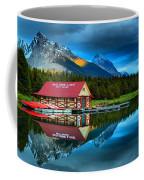 Vibrant Evening At Maligne Lake Boathouse Coffee Mug