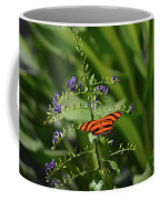 Vibrant Oak Tiger Butterfly Surrounded By Blue Flowers Coffee Mug