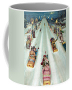 Victorian Poster Of Night Sledding Coffee Mug