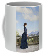 Victorian Woman In A Blue Dress Standing On The Terrace  Coffee Mug