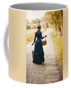 Victorian Woman With A Wicker Shopping Basket Coffee Mug