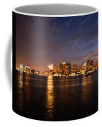 View Of The Boston Waterfront At Night Coffee Mug