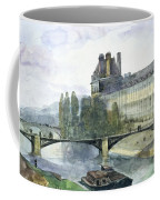 View Of The Pavillon De Flore Of The Louvre Coffee Mug by Francois-Marius Granet