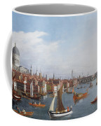 View Of The River Thames With St Paul's And Old London Bridge   Coffee Mug by William James