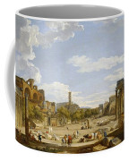 View Of The Roman Forum Coffee Mug by Giovanni Paolo Panini