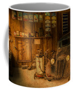 Vintage Auto Repair Garage With Truck And Signs Coffee Mug