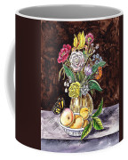 Vintage Bouquet With Fruits And Butterfly  Coffee Mug