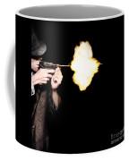 Vintage Gangster Man Shooting Gun On Black Coffee Mug