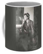 Vintage Man In Hat Smoking Cigarette In Jazz Club Coffee Mug
