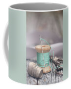 Vintage Notions Over Wood Background Coffee Mug