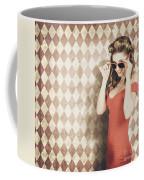 Vintage Pinup Fashion Model In Womens Sunglasses Coffee Mug