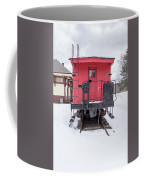 Vintage Red Caboose In The Snow Coffee Mug