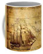 Vintage Ship Map Coffee Mug by Lucia Sirna