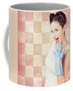 Vintage Surprised Pinup Woman Doing Housework Coffee Mug