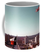 Vintage View Of The Texas And Usa Flags Flying On Top Of Texas State Capitol Coffee Mug