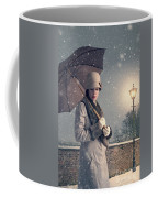 Vintage Woman With Coat Hat And Umbrella Outside In Snow Coffee Mug