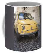 Vintage Yellow Fiat 500 In Rome Coffee Mug