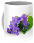 Violets On White Background Coffee Mug