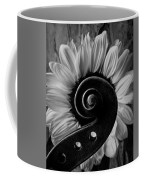 Violin Scroll And Sunflower In Black And White Coffee Mug