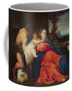 Virgin And Infant With Saint John The Baptist And Donor Coffee Mug
