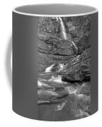 Virginia Falls Glacier Cascades - Black And White Coffee Mug