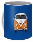 Volkswagen Type - Orange And White Volkswagen T 1 Samba Bus Over Blue Canvas Coffee Mug