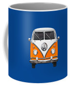 Volkswagen Type - Orange And White Volkswagen T 1 Samba Bus Over Blue Canvas Coffee Mug