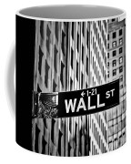 Wall St Sign New York In Black And White Coffee Mug