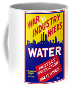 """WPA War Industry Needs Water Use Wisely Metal Sign Vintage Wall LARGE 18/"""" X 12/"""""""