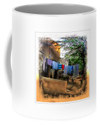 Washing Line And Cows Indian Village Rajasthani 1b Coffee Mug