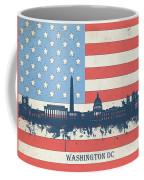 Washington Dc Skyline Usa Flag 3 Coffee Mug