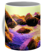 Water Color Like Rocks In Ocean At Sunset Coffee Mug