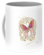 Watercolor Butterfly With Vintage Swirl Scroll Flourishes Coffee Mug