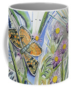 Watercolor - Checkerspot Butterfly With Wildflowers Coffee Mug by Cascade Colors