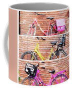 Watercolor Collage Of Three Bicycles In Triptych Coffee Mug