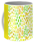 Watercolor Doodle Leaves Pattern White  Coffee Mug