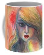 Watercolor Girl Portrait With Flower Coffee Mug