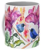 Watercolor - Masked Flowerpiercers With Flowers Coffee Mug