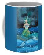 Watercolor Mermaid Feeding Her Narwhals Coffee Mug