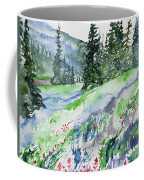 Watercolor - Mountain Pines And Indian Paintbrush Coffee Mug