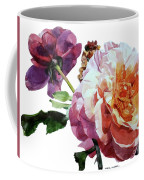 Watercolor Of Two Roses In Pink And Violet On One Stem That  I Dedicate To Jacques Brel Coffee Mug