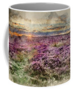 Watercolor Painting Of Beautiful Dawn Sunrise Landscape Image Of Heather On Higger Tor In Summer In  Coffee Mug