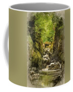 Watercolor Painting Of Beautiful Ethereal Landscape Of Deep Sided Gorge With Rock Walls And Stream F Coffee Mug