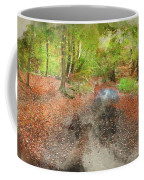 Watercolor Painting Of Beautiful Landscape Image Of Forest Covered In Autumn Fall Color Contrasting  Coffee Mug