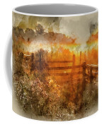 Watercolor Painting Of Beautiful Sunrise Landscape Over Foggy English Countryside With Glowing Sun Coffee Mug