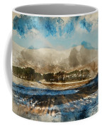 Watercolor Painting Of Fresh Winter Landscape Of Mountain Range And Forest Covered In Snow Coffee Mug