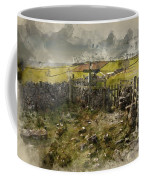 Watercolor Painting Of Public Footpath Signposts In Landscape In Coffee Mug