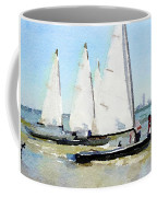 Watercolor Painting Of Small Dinghy Boats Coffee Mug
